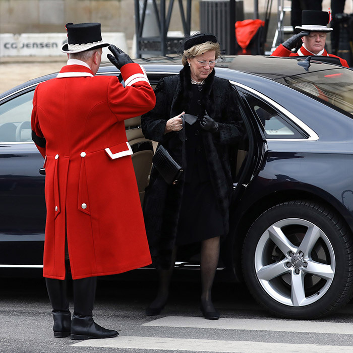 Queen Anne-Marie of Greece and her husband ex-King Constantine (not pictured) also paid their respects in person at the solemn church ceremony. The funeral only included friends and family due to Prince Henrik's wish not to have a state funeral, and was not attended by any foreign members of state.