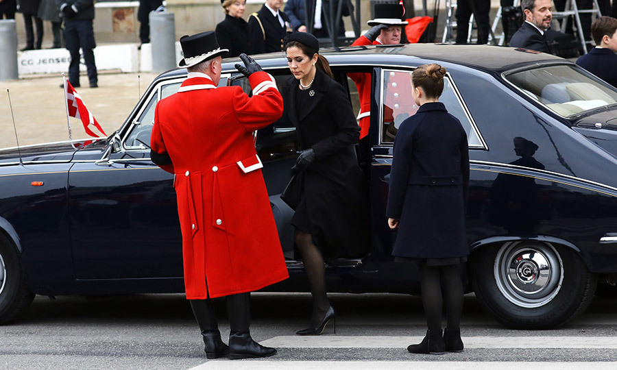 The royals, including Crown Princess Mary had all arrived for the service in classic black limousines.