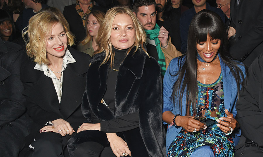 Actress Naomi Watts joined supermodel legends Kate Moss and Naomi Campbell in the front row at the Burberry show. 