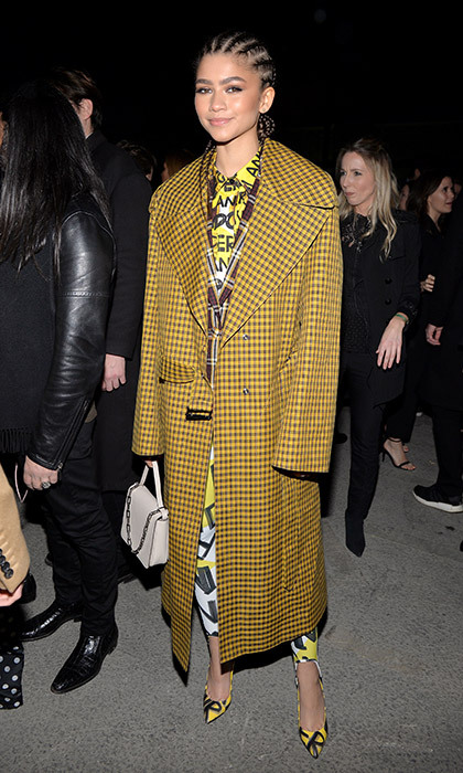 Zendaya rocked cool cornrows and a checkered Burberry coat at the catwalk show, held at Dimco Buildings.