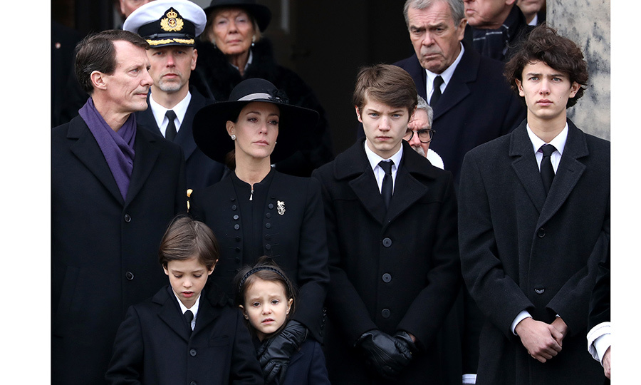 Prince Joachim, his wife Princess Marie and four children were grief-stricken as they watched the funeral cortege.
