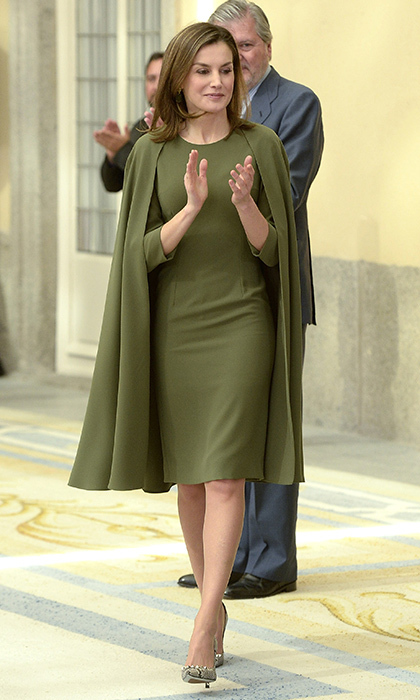 Spain's Queen Letizia recycled her green caped dress for the National Sports Awards ceremony at El Pardo Palace in Madrid.