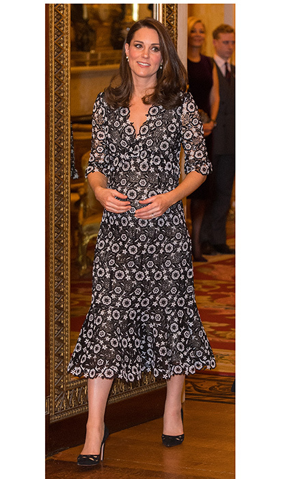 The Duchess of Cambridge dressed her baby bump in black and white lace Erdem for the Commonwealth Fashion Exchange Reception at Buckingham Palace on February 19.