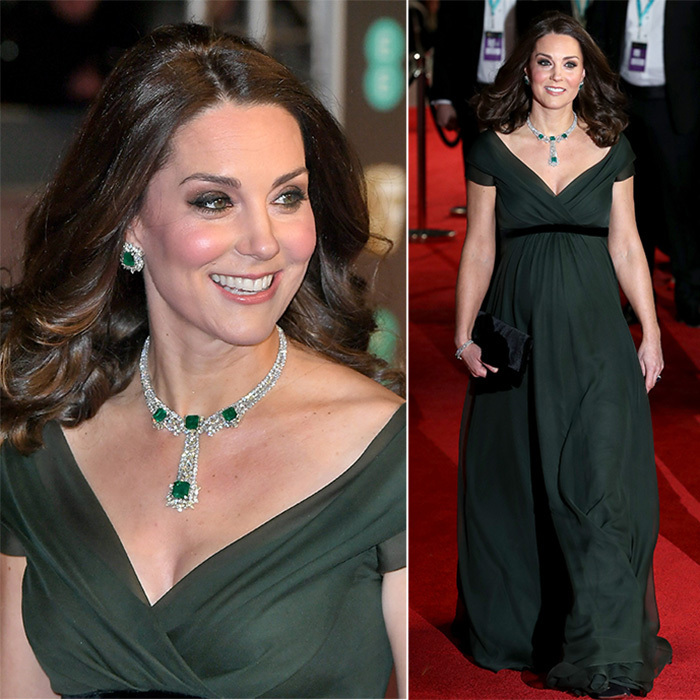 The Duchess of Cambridge had a very stylish week! On February 18 the royal attended the British Oscars – the BAFTAs – at London's Royal Albert Hall accompanied by Prince William. Kate looked super glamorous in a forest green empire waist Jenny Packham gown and emerald jewels.