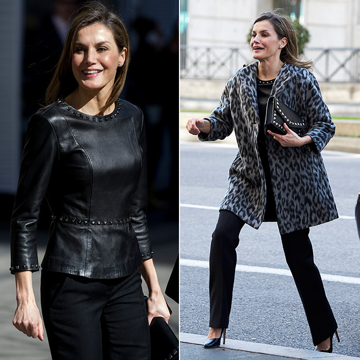 Queen Letizia of Spain rocked a leather top, studded clutch and leopard print coat as she attended a meeting about domestic violence issues at the Government Delegation for Gender-Based Violence headquarters in Madrid.