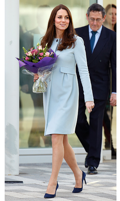 Duchess Kate was blooming in the 'Natasha' coat by Seraphine as she left the new Kensington Leisure Centre in January 2015. The royal has also worn the $299 cashmere blend creation during her third pregnancy.  Photo: Max Mumby/Indigo/Getty Images