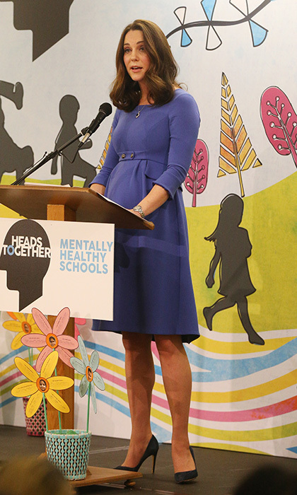 In January 2018, Catherine, Duchess of Cambridge wore a bespoke dress by Seraphine to launch an initiative from the Heads Together campaign in London. While the dress was a custom look, Seraphine later revealed they would be creating a version of the Royal Blue Tailored Maternity Dress for sale to the general public.  Photo: Jonathan Brady - WPA Pool/Getty Images