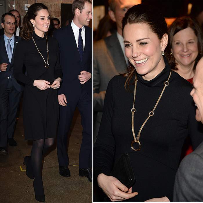 Another early Seraphine moment was in New York City back in December 2014, when the Duchess wore the 'Vanessa' black turtleneck maternity dress and a statement necklace by Cartier while pregnant with Princess Charlotte.  Photo: Kevin Mazur/Getty ImagesPOOL/Getty Images