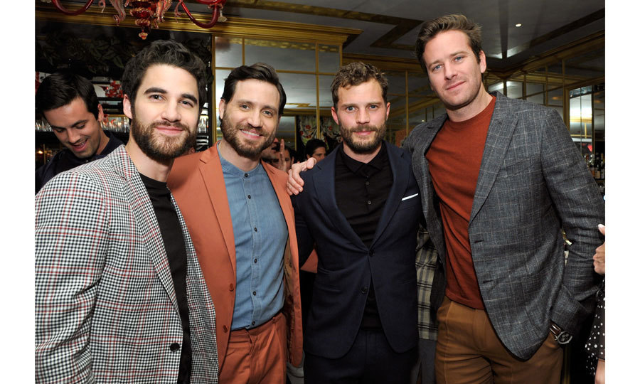 "<i>Assassination of Gianni Versace</i> stars Darren Criss and Édgar Ramírez along with <i>Fifty Shades</i>' Jamie Dornan and actor Armie Hammer came together for a swoon-worthy group photo at the ""GQ and Oliver Peoples Celebrate Timothee Chalamet March Cover Dinner"" held at the Nomad Los Angeles. 