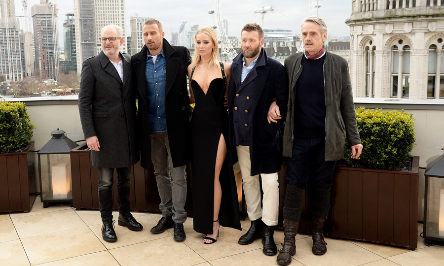 Jennifer Lawrence channeled her inner spy attending a <i>Red Sparrow</i> photocall with director Francis Lawrence and co-stars Matthias Schoenaerts, Joel Edgerton and Jeremy Irons on the rooftop of the Corinthia Hotel in London on February 20.