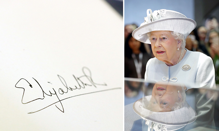 Queen Elizabeth left her mark at the Royal College Of Physicians in London on February 20, signing the visitors' book with her trademark autograph. The R in 'Elizabeth R', a signature used by both the Queen and Queen Elizabeth I, means <i>regina</I> or queen.