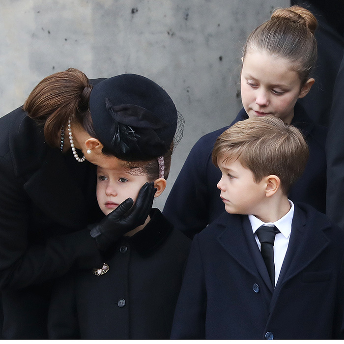 Crown Princess Mary of Denmark comforted daughter Princess Josephine as Josephine's twin brother Vincent and big sister Isabella looked on. The tender family scene took place outside the children's grandfather Prince Henrik's cremation ceremony in Copenhagen on February 20. 