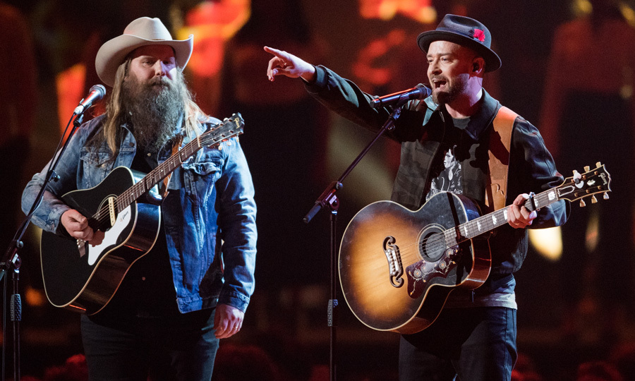 Justin Timberlake and Chris Stapleton performed their duet <i>Say Something</i> off JT's latest album <i>Man of the Woods</i> at the Brit Awards.