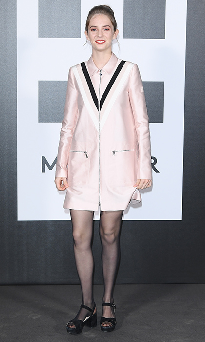 Uma Thurman and Ethan Hawke's daughter Maya Hawke wore a graphic pink zipped dress to the Moncler Genius event.