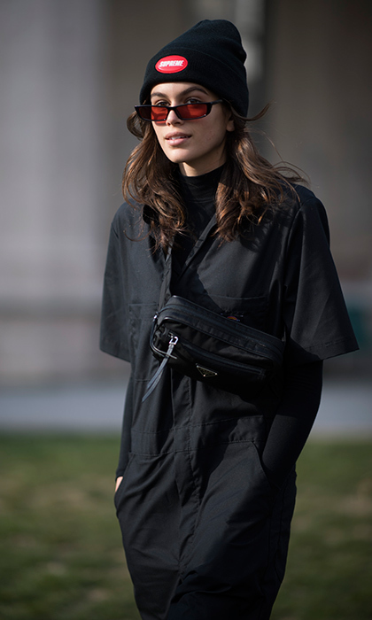 Kaia Gerber was wrapped up against the chill after the Alberta Feretti show.
