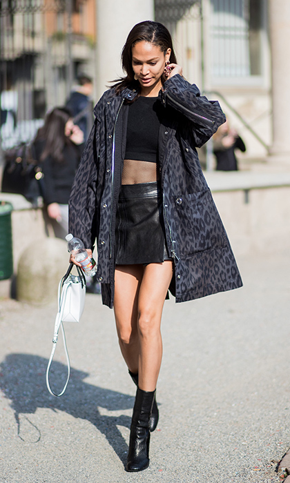 Joan Smalls heated up the scene in a cropped top, leather mini skirt and leopard print coat. 
