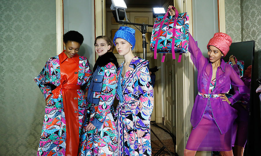 Models showed off Emilio Pucci's iconic prints backstage at the label's presentation.