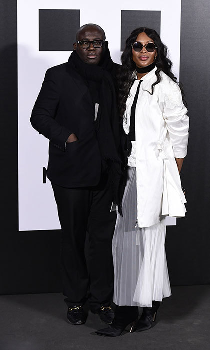Naomi Campbell and British <I>Vogue</I>'s editor-in-chief Edward Enninful made a stylish appearance at the Moncler presentation.