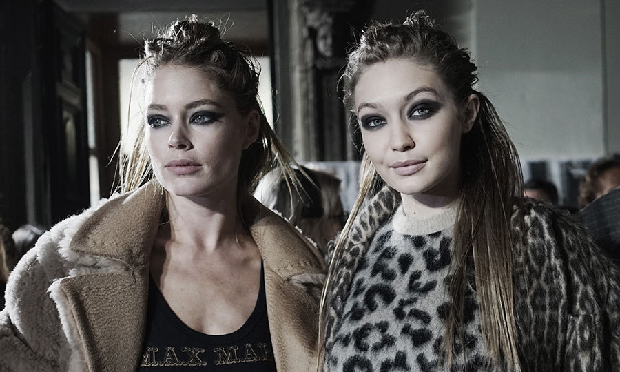Doutzen Kroes and Gigi Hadid looked fierce together backstage at Max Mara.