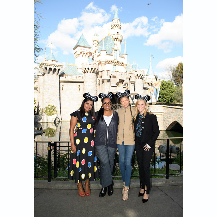 A magical surprise! <i>A Wrinkle in Time</i> stars Oprah Winfrey, Reese Witherspoon, Mindy Kaling and Storm Reid posed with fans in front of Sleeping Beauty Castle at Disneyland Park on February 22. The outing marked Mindy's first official appearance since welcoming her daughter in December 2017. 