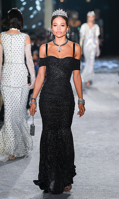 "Lady Kitty Spencer's fellow aristocrat <a href=""https://us.hellomagazine.com/tags/emma-mcquiston/""><strong>Emma Thynn, Viscountess Weymouth</strong></a>, also starred in the Dolce & Gabbana show, modeling one of the label's signature corset gowns with sweetheart neckline.