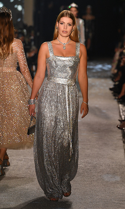 The aristocrat sparkled in a pleated silver gown, her second look at the February 24  Secret & Diamond show in Milan.