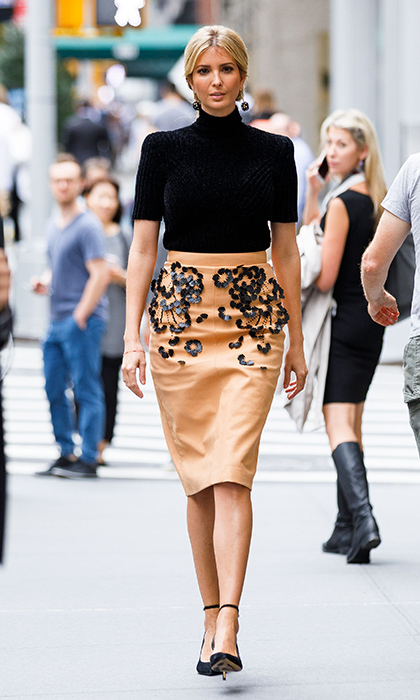In September 2017, Ivanka was back on her home turf in New York City, wearing a beige embroidered pencil skirt and short-sleeved turtleneck. 