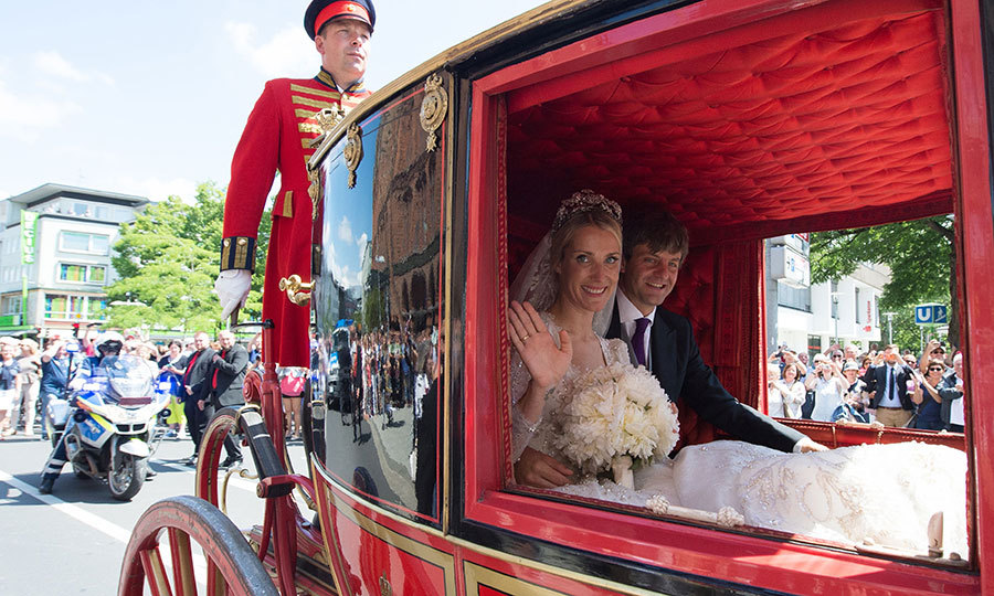 After the ceremony, Prince Ernst August and Ekaterina of Hanover took a traditional carriage ride through the town. 