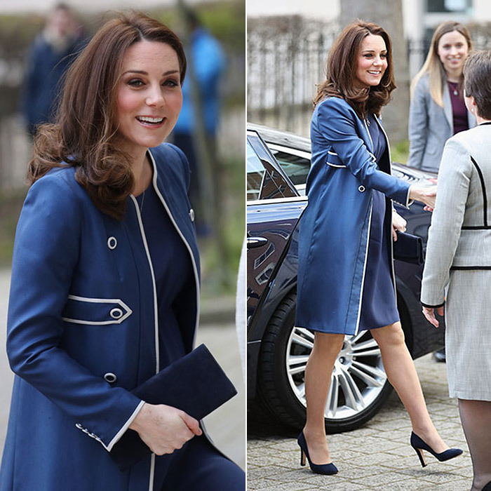 On February 27, the Duchess of Cambridge visited the Royal College of Obstetricians and Gynecologists (RCOG) where she has become a patron of the Nursing Now campaign. The pregnant royal looked incredible in a custom-made Jenny Packham military-inspired coat with silver detail, worn over a matching blue dress. Kate completed her ensemble with Jimmy Choo high-heeled shoes and a blue clutch. 