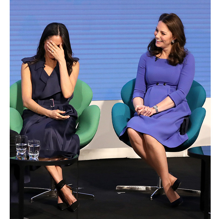 Both Meghan Markle and her future sister-in-law Kate Middleton were in stitches as they took part in a Q&A at the first annual Royal Foundation Forum on February 28 in London.