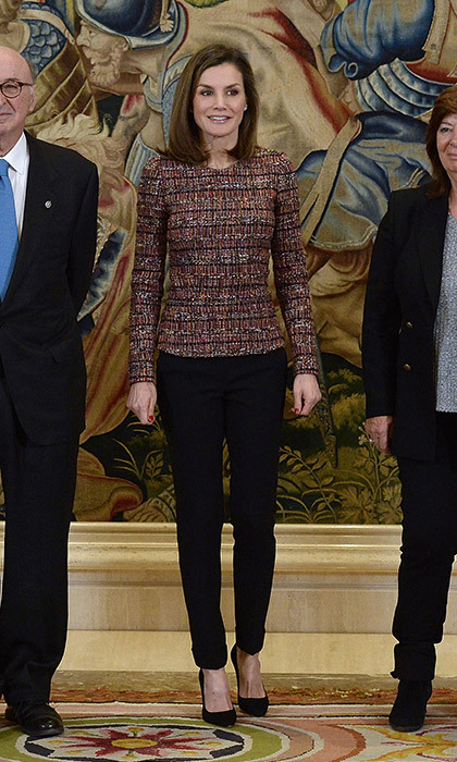 Queen Letizia of Spain went for classic tweed and slim fit trousers for an audience at Zarzuela Palace on February 27.