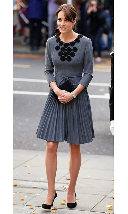 Another Of The Ss Cambridge S Favorite Orla Kiely Dresses Is This Grey Pleated Creation With