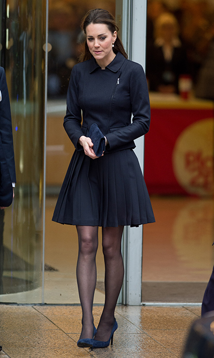 The Duchess Of Cambridge wore this Orla Kiely crepe pleated skirt in navy blue for the Place2Be Forum at the offices of Clifford Chance, Canary Wharf in November 2013.