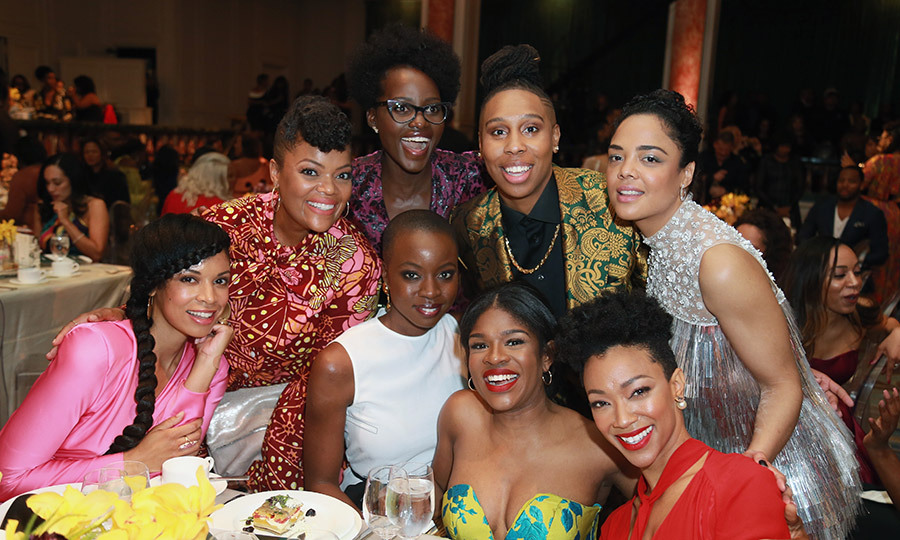 Squad goals! Clockwise from top center: Lupita Nyong'o, Honoree Lena Waithe, Honoree Tessa Thompson, Susan Kelechi Watson, Yvette Nicole Brown, Honoree Danai Gurira, Edwina Findley Dickerson, and Sonequa Martin-Green struck a pose for posterity. 