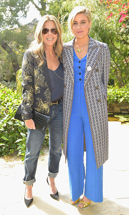 Actress and Tom Hanks's better half Rita Wilson looked cool in jeans as she talked with best director nominee Greta Gerwig.