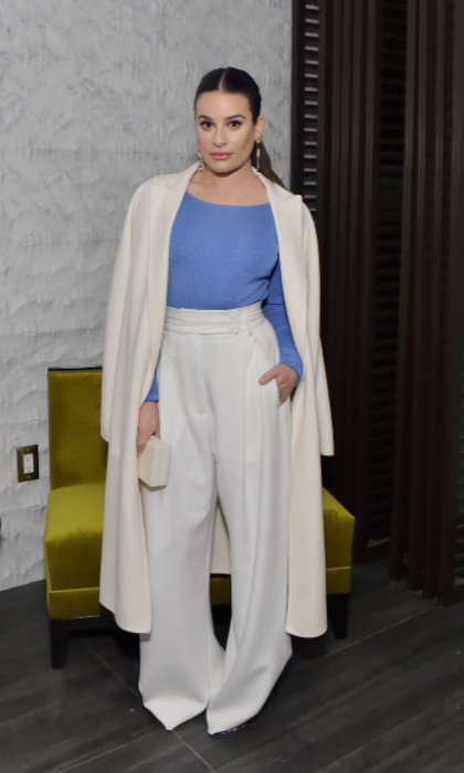 "Lea Michele was gleefully gorgeous in Styland trousers. The star floated into the ""WIF"" evening in her dreamy white and blue ensemble. 