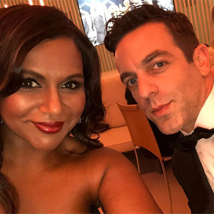 Mindy Kaling shared a sweet selfie with her date for the night – her co-star on <I>The Office</I>, B. J. Novak!