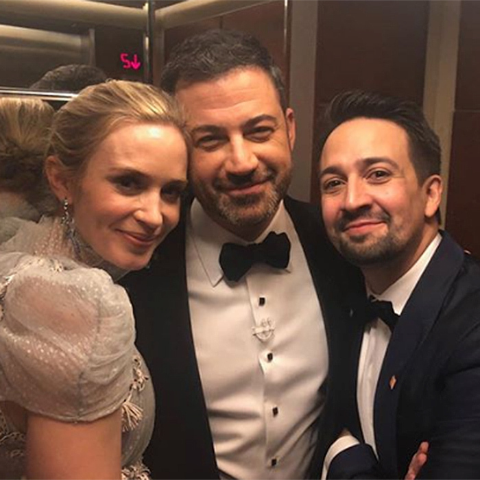 "Host Jimmy Kimmel captured this ""elevator break"" with Emily Blunt and Lin-Manuel Miranda.