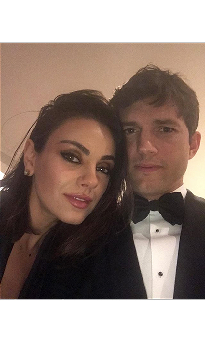 "Ashton Kutcher and actress wife Mila Kunis skipped out on the Oscars, but still made it a black tie evening. The actor posted this romantic photo to Instagram, captioning it, ""Night out with the wife.""