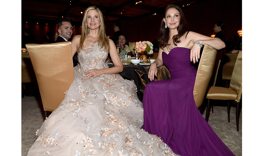 Time's Up activists and screen queens Mira Sorvino, left, and Ashley Judd held court as celebrities partied the night away starting at the Governors Ball. 