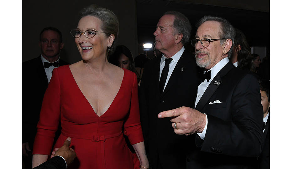 Meryl Streep and old friend Steven Spielberg shared a laugh at the Governors Ball. 