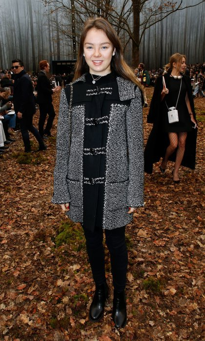 Princess Caroline's younger daughter Princess Alexandra of Hanover experienced the autumn wonderland at Chanel's Paris Fashion Week show wearing a classic bouclé coat by the brand.