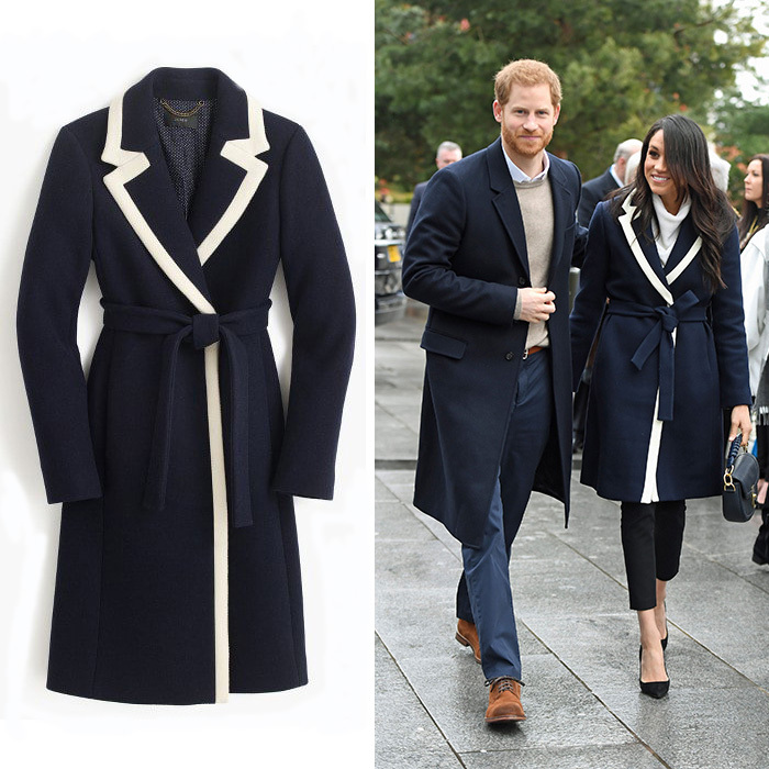 As she stepped out in Birmingham, England, on March 7, Meghan braved the cold in a navy blue, two-tone wool-blend coat by J.Crew. The tailored piece features contrasting white edges in a nod to the brand's signature stripes, and a belt. Prince Harry's future wife completed her look with a white turtle-kneck sweater and black stiletto heels. The couple traveled to the city to attend an event encouraging young girls to pursue careers in science, technology, and engineering.