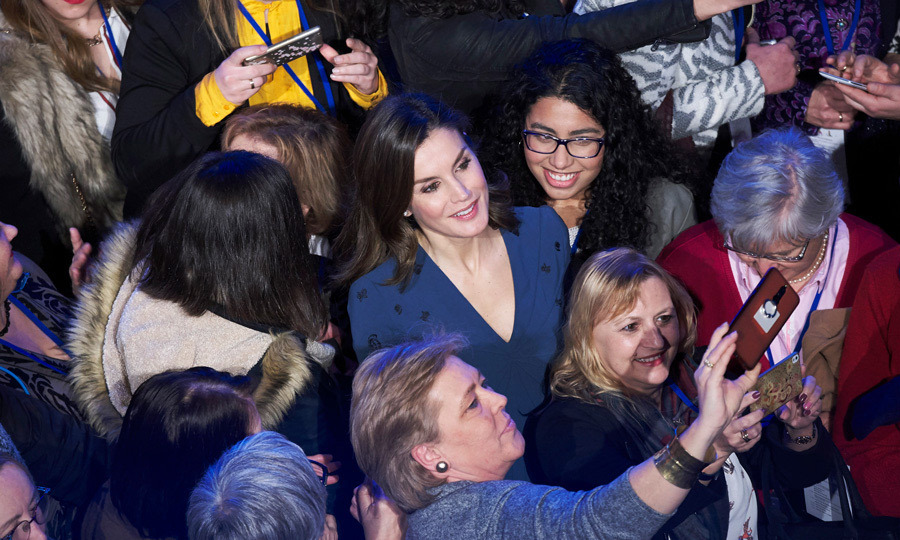 Say cheese! Queen Letizia posed for selfies with guests at the 2018 Digitalizadas presentation on March 2.