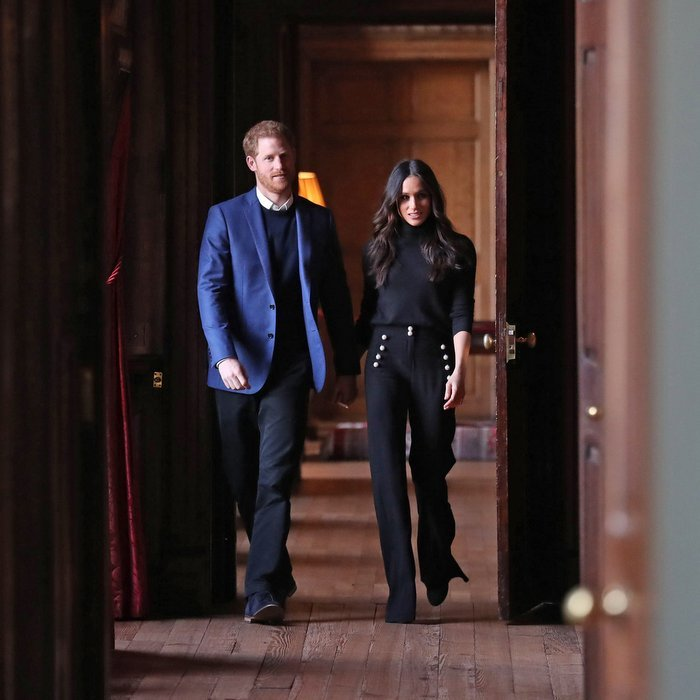 Prince Harry and future wife Meghan held hands as they strolled through the majestic corridors of the Palace of Holyroodhouse in Edinburgh on February 13. 