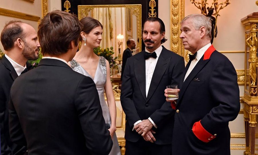 "Seattle native and former runway model <a href=""https://us.hellomagazine.com/tags/1/kendra-spears/""><strong>Kendra Spears</strong></a>, who became Princess Salwa in 2013 when she married the Aga Khan's son Prince Rahim, seen center, also attended. Here the couple speak with Prince Andrew.