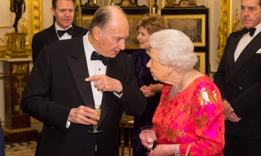 Queen Elizabeth was seen deep in conversation with her longtime friend, the Aga Khan, who is also one of the world's richest royals.