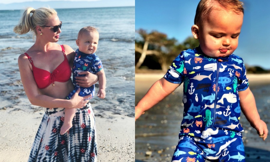 Katherine showed off her 1-year-old's adorable little wetsuit as the family spent time on a gorgeous Mexican beach.