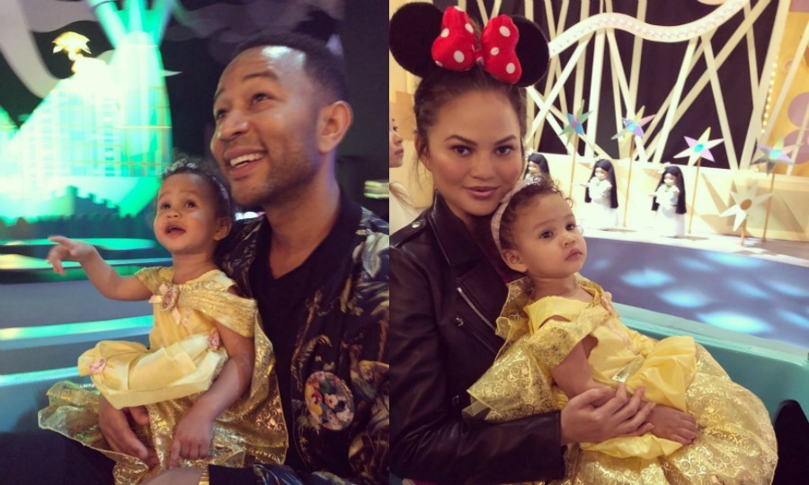 "The bell of the ball! Chrissy Teigen and John Legend took their 22-month-old daughter Luna across the world to Disneyland Hong Kong. The proud parents flaunted their special trip on Instagram, with John sharing a photo of him and Luna on the It's a Small World ride, writing: ""It's a small world after all!"" Chrissy posted her own mommy-daughter pic, writing: ""my belle.""