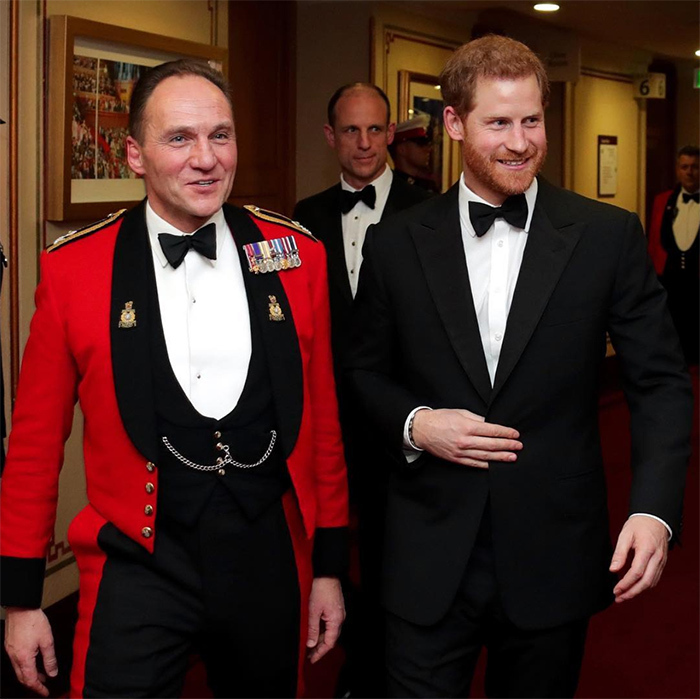 The name's Harry, Prince Harry. Wearing a dapper black tuxedo, the royal attended the Mountbatten Festival of Music at Royal Albert Hall on March 10. This marked his first official outing with his new title of Captain General Royal Marines, which he inherited from his grandfather Prince Philip. 